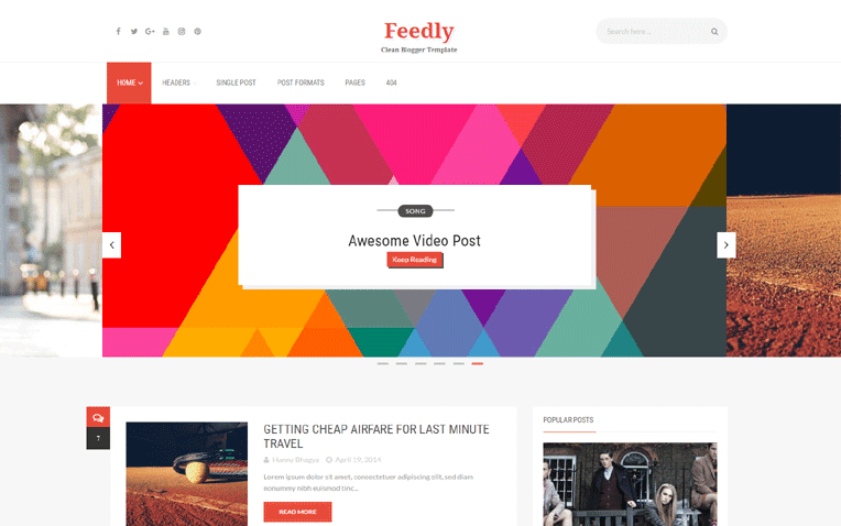 Feedly Free Blogger Template