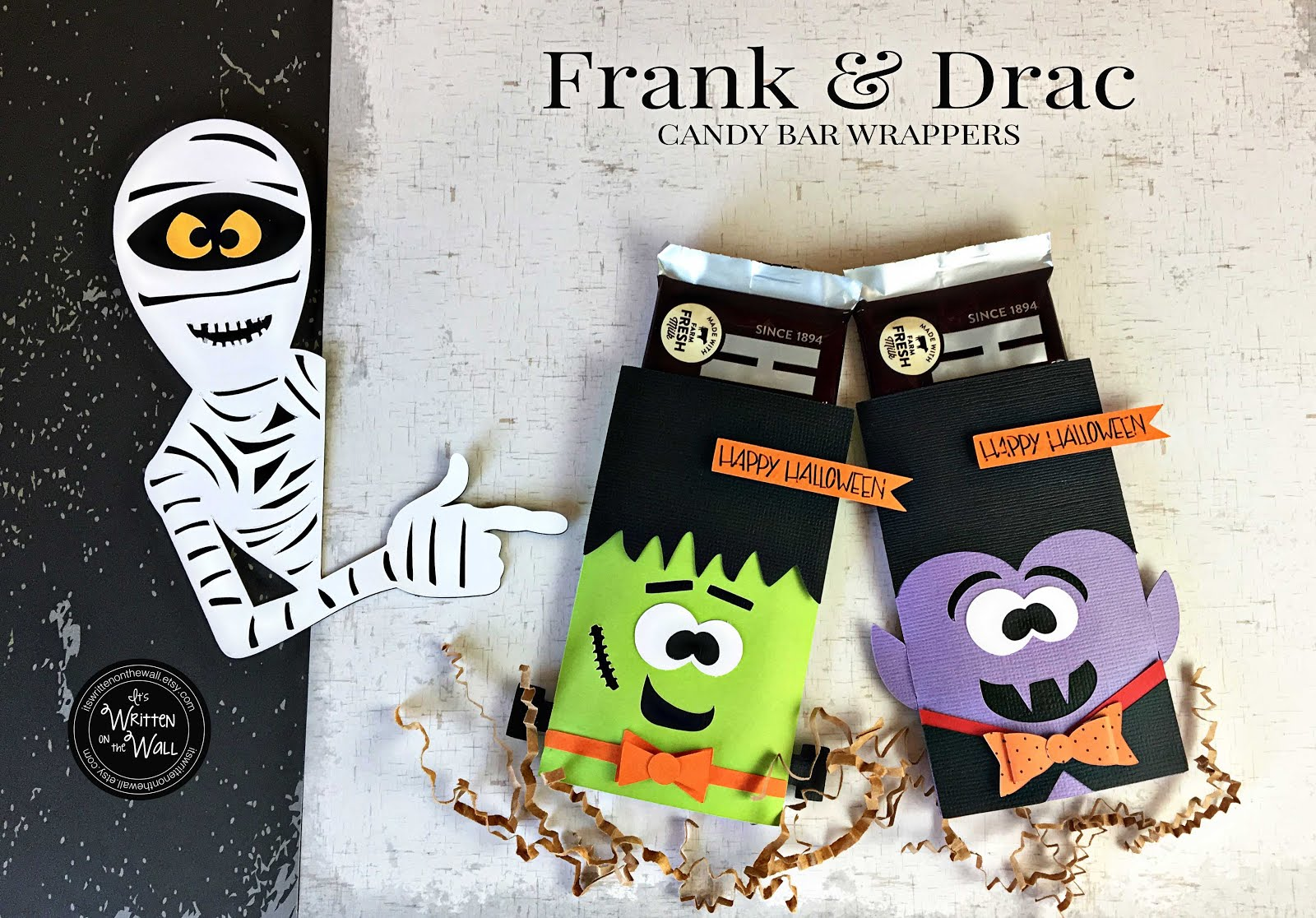 Frankenstein and Dracula candy bar wraps