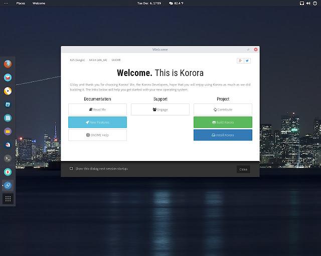 Korora 25 GNOME em execução