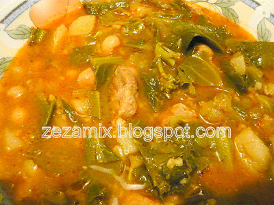 Stew of young green vegetables, meat and chickpea