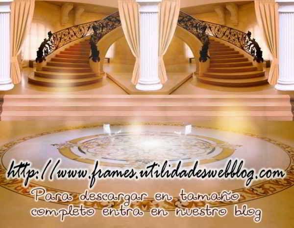 Bonitos fondos de lobby con escaleras para bodas, 15 años y comuniones color  naranja