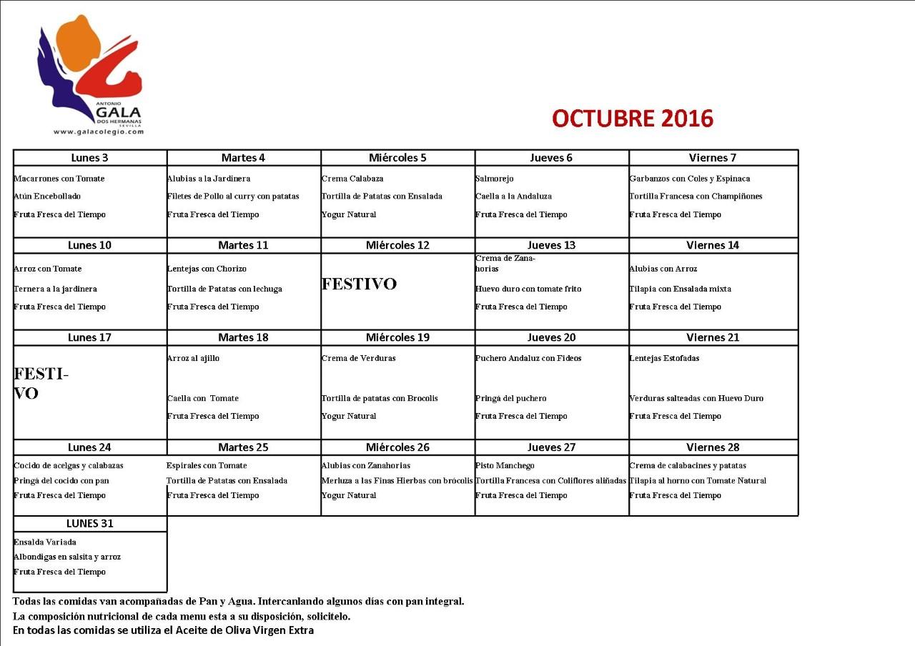 Galerías Digital: Menú del Comedor. Octubre. Colegio Antonio Gala