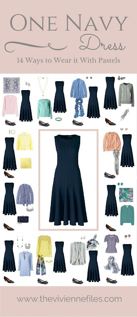 One Navy Dress in a Capsule Wardrobe: 14 Ways to Wear it With Pastels