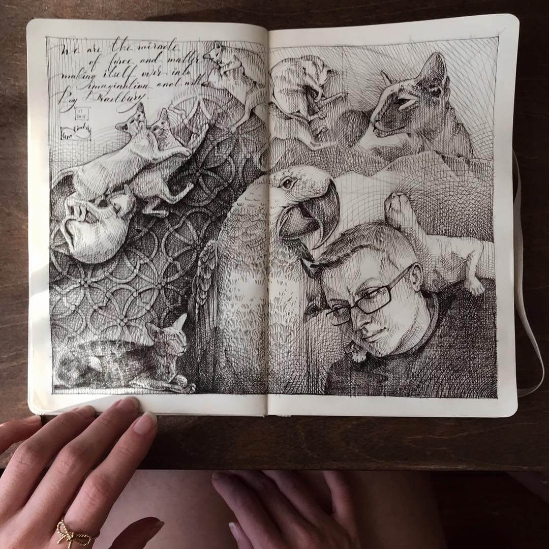 11-Cats-Parrot-and-a-Human-Lena-Limkina-Intricate-Moleskine-Drawings-with-Cats-www-designstack-co