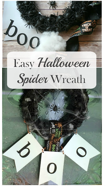 Greet your little ghouls with an Easy Spooky Spider wreath on Halloween!
