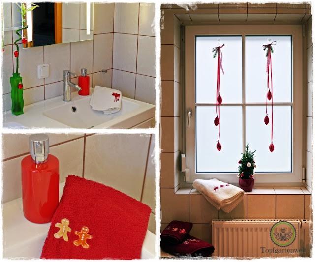 Gartenblog Topfgartenwelt festliche Weihnachtsdekoration in Rot und Weiß + Rezept Flammkuchen: Badezimmer