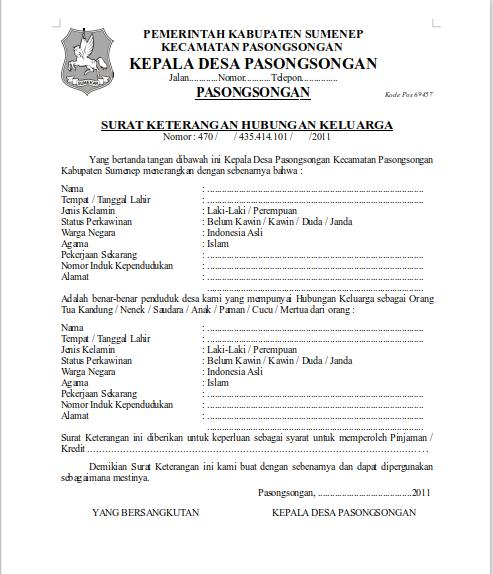 Contoh Surat Pernyataan Tidak Memiliki Hubungan Keluarga