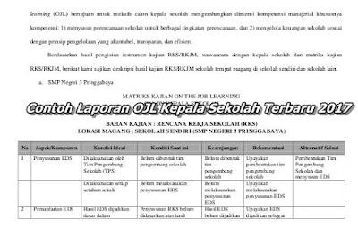 Contoh Laporan OJL Kepala Sekolah Terbaru 2017