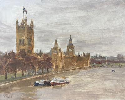 #149 'View From Lambeth Bridge' 9.5×12″
