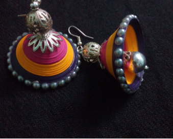 latest quilling jhumkas earring designs - quillingpapersdesigns