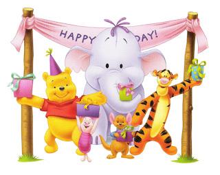 winnie the pooh, tigger, heffalump de cumpleaños