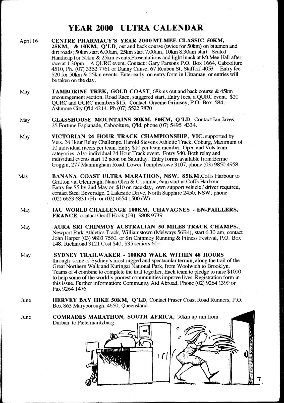 Australian Ultramarathon History Aura Ultra Calendar June 1999 2000