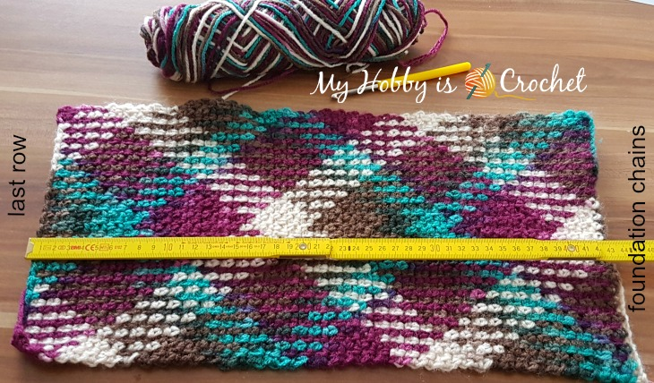 Making of an argyle crochet hat, free crochet pattern on myhobbyiscrochet.com
