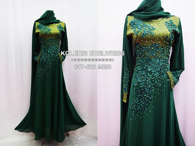 dress songket emerald green