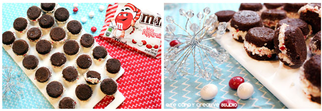 brownie bites, M&Ms, peppermint candies, mini whoopie pies