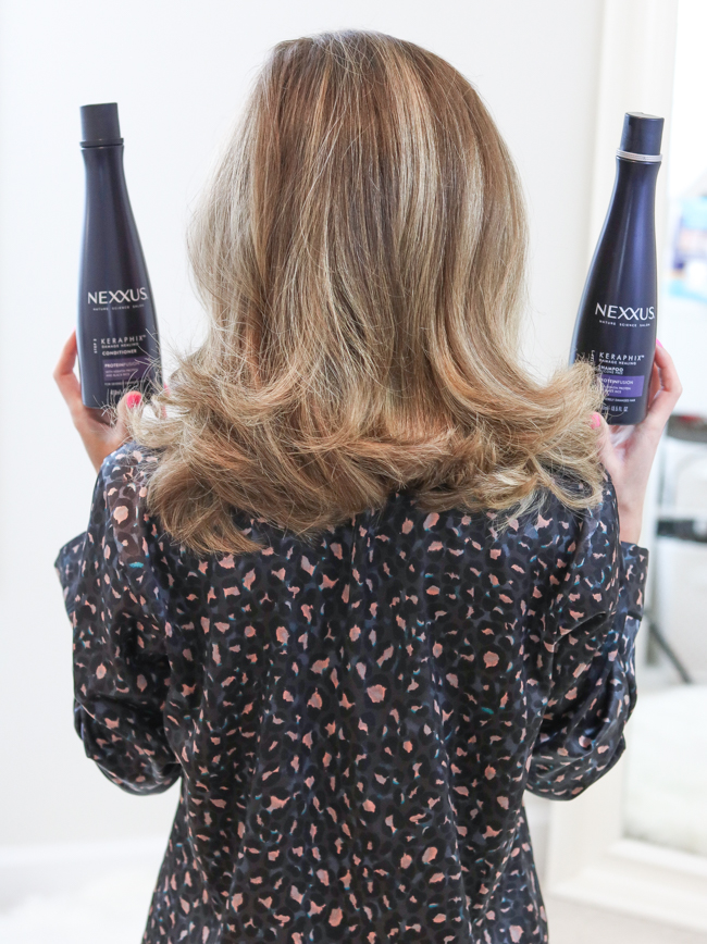 clean hair with nexxus keraphix system
