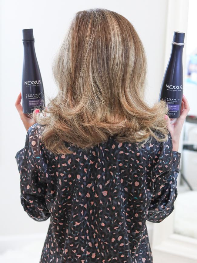 clean hair with nexxus keraphix system