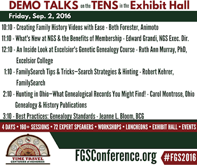 Friday Demo Area Schedule for FGS 2016