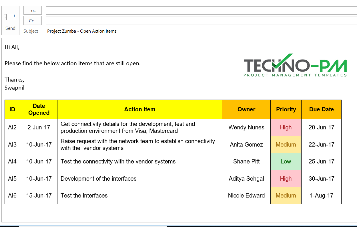 Action Items Template For Excel Free Project Management Templates