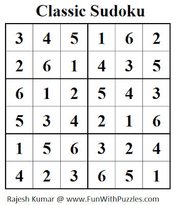 Classic Sudoku (Mini Sudoku Series #32) Solution