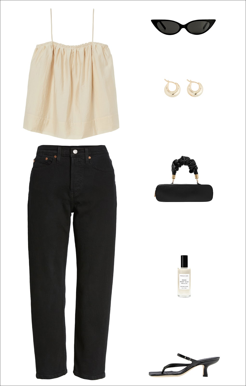 End-of-Summer Outfit Idea: billowy cami tank top, black cat-eye sunglasses, dome hoop earrings, a fashion-forward mini bag, high-waisted black jeans, and strappy heeled sandals.