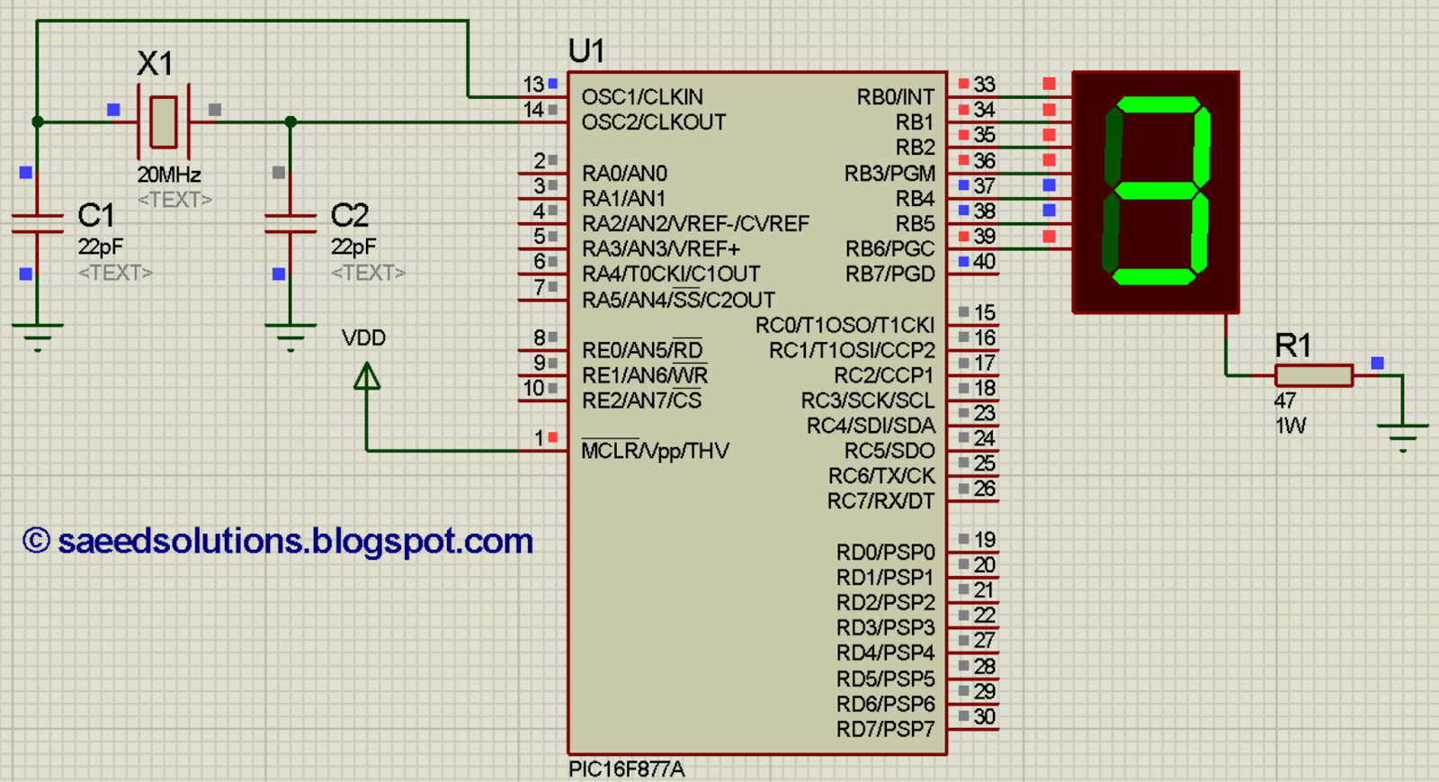 How To Implement Free Running Counter In Pic16f877a Using Seven Circuit With 7 Segment Display Implementation