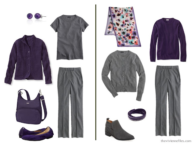 Capsule wardrobe colour palette inspiration - a pinch of plum with grey