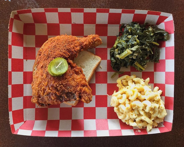 Nashville Style Hot Chicken, Mustard Greens, Mac & Cheese