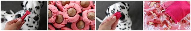 Homemade pretty pink Valentine dog treats