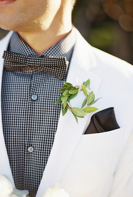 Corona vegetal para decorar el traje del novio