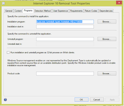 Remove Internet Explorer 10 using SCCM & Software Catalog 1