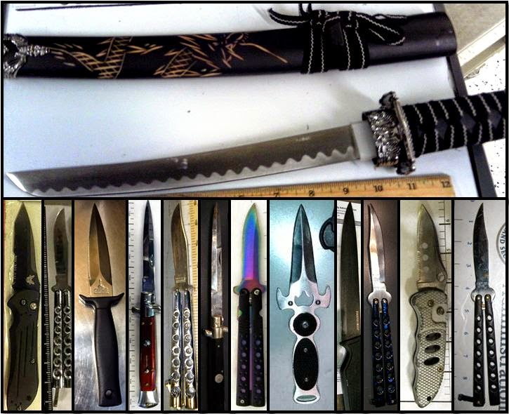 Counterclockwise from top, knives discovered at LGA, HNL, CLT, GRK, LGB, OAK, ORD, MDW, LAX, AUS, ORD, PVD & ONT