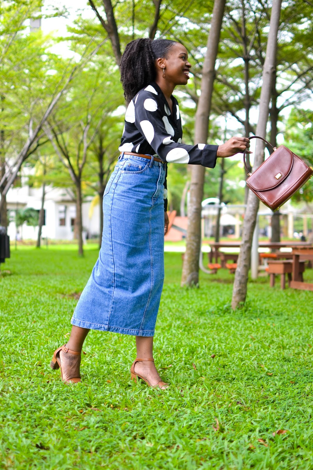 Black Fashion Blogger in Denim Midi Skirt & Black Polka Dot Shirt