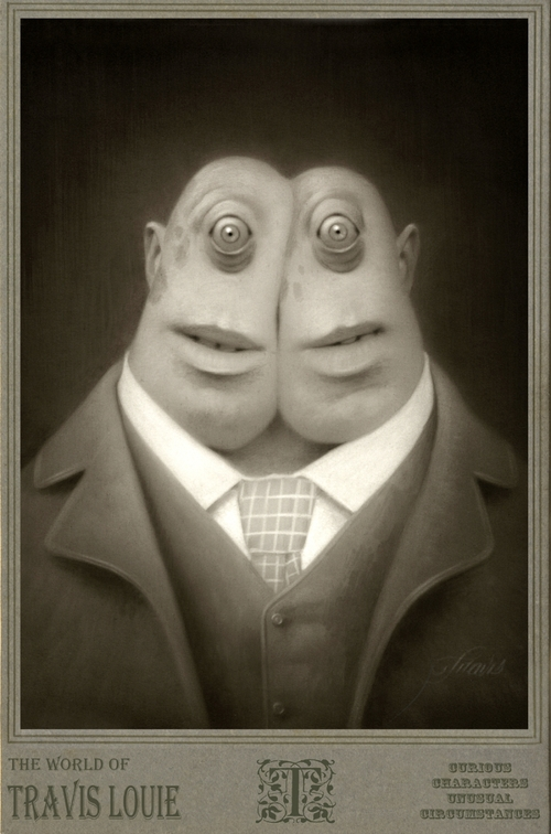 09-Jeff-and-Jim-stuck-together-Travis-Louie-Surreal-Illustrations-of-Fantasy-Beings-www-designstack-co