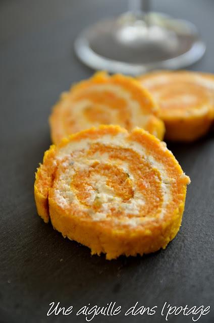 Roulé apéritif carottes au fromage frais échalote-ciboulette