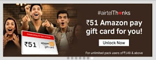get rs 51 amazon pay gift card from my airtel app