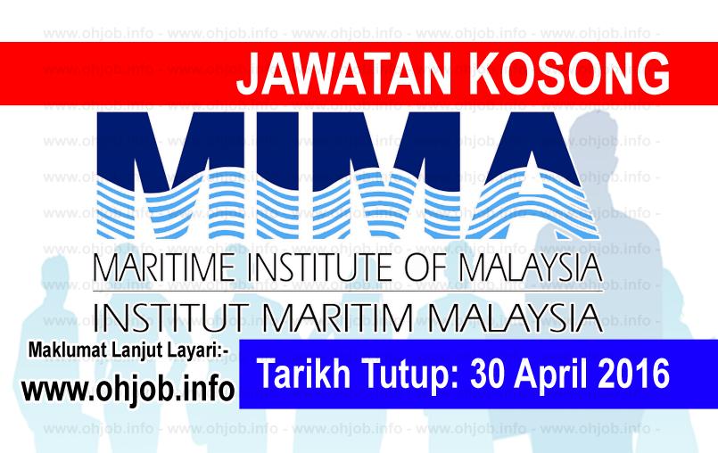 Jawatan Kerja Kosong Institut Maritim Malaysia (MIMA) logo www.ohjob.info april 2016