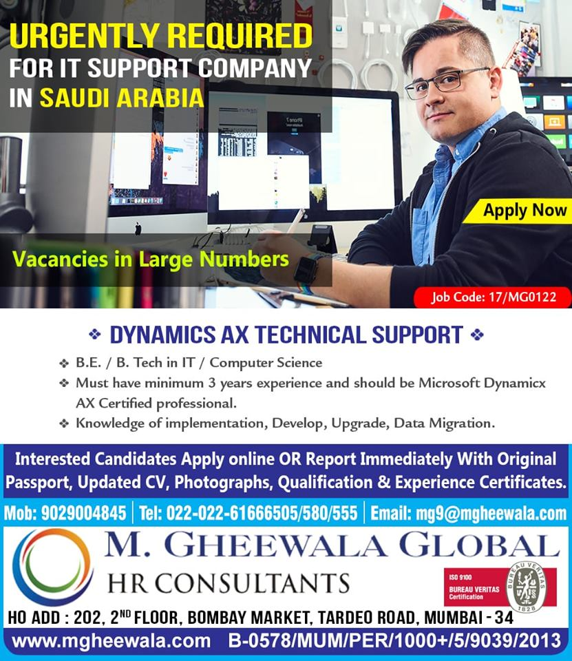 Urgently Required for It Support Company in Saudi Arabia
