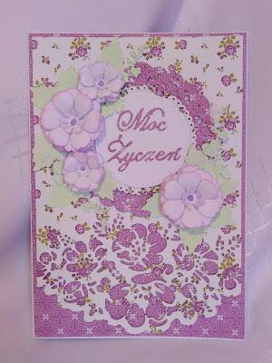 Kartka na urodziny -fioletowa