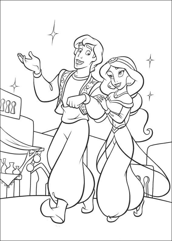 Aladdin and Jasmine Coloring Pages | Tops Wallpapers Gallery  Coloring Pages Of Jasmine And Aladdin