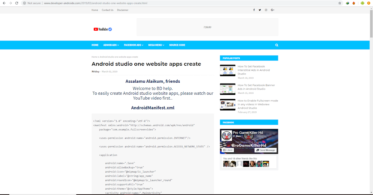 Android studio one website apps create - Android Code CC