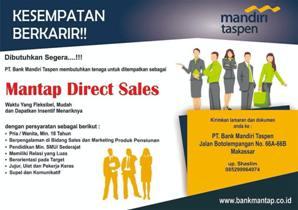 Lowongan Kerja Mantap Direct Sales di PT Bank Mandiri Taspen