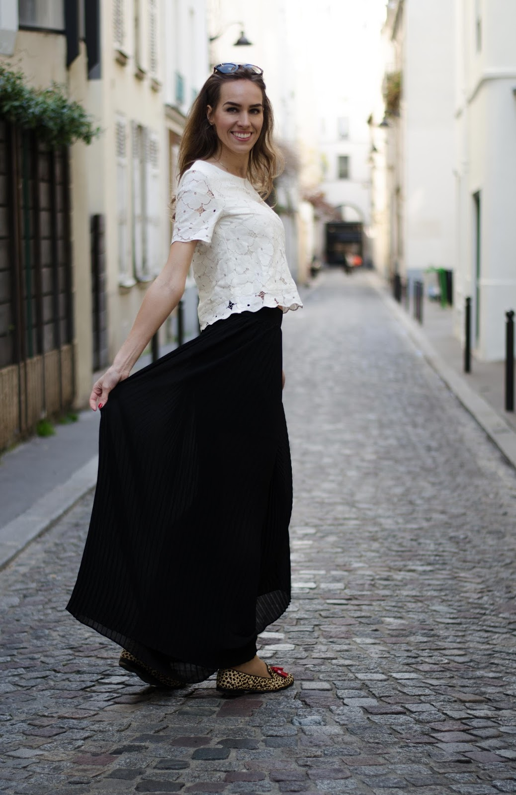 kristjaana mere white lace top pleated pants spring fashion