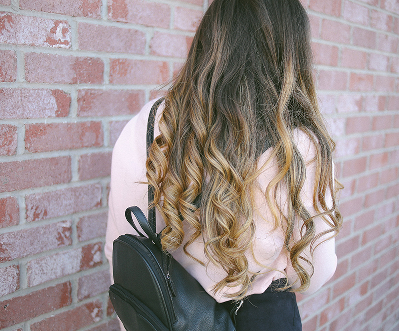 long brown hair, brunette balayage, bleached ends