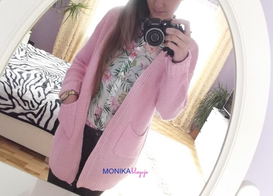 Pink Cardigan Romwe