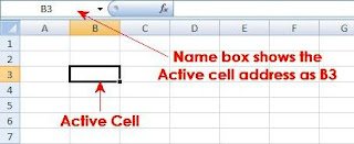 Active Cell address shows in Name Box as B3
