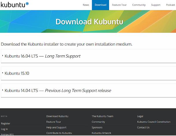 Kubuntu 16.04ダウンロード.画像はKubuntu公式サイトのスクリーンショット