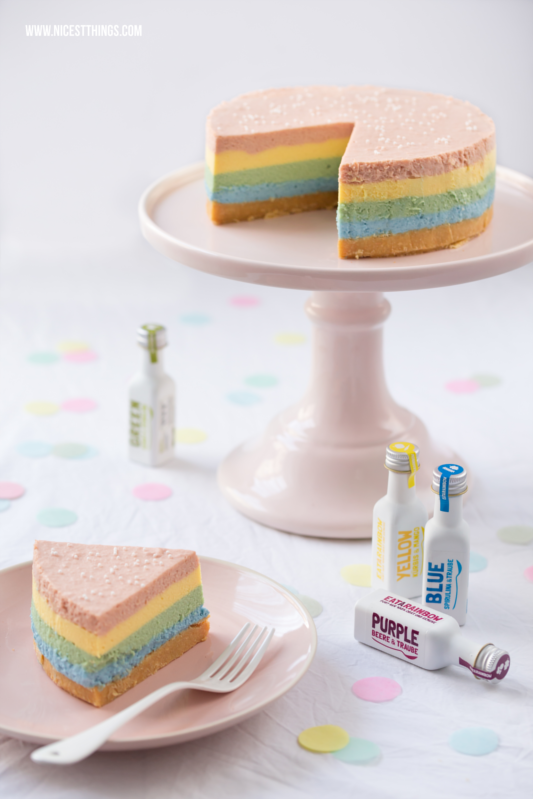 Regenbogen Cheesecake Rainbow Cheesecake bunter Käsekuchen #regenbogen #einhorn #rainbow #cheesecake