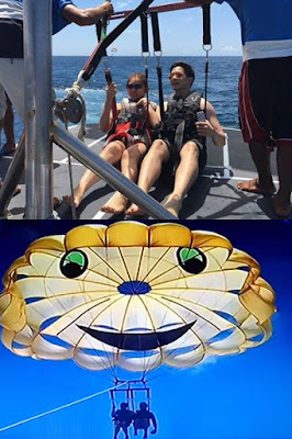 Alden and Maine while para-sailing at Boracay