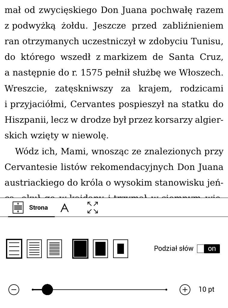 PocketBook Touch Lux 4 – e-book z ustawionym największym odstępem między liniami